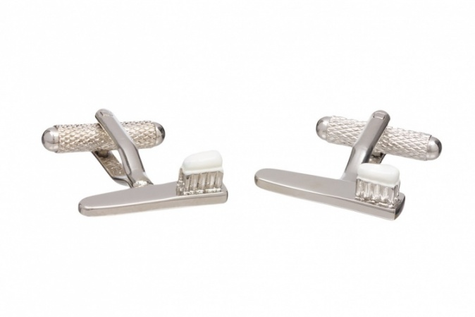 Toothbrush and Toothpaste Cufflinks